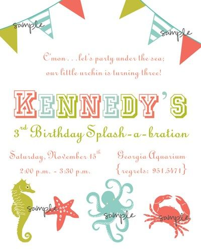 Ocean themed birthday party invitation with seahorse starfish