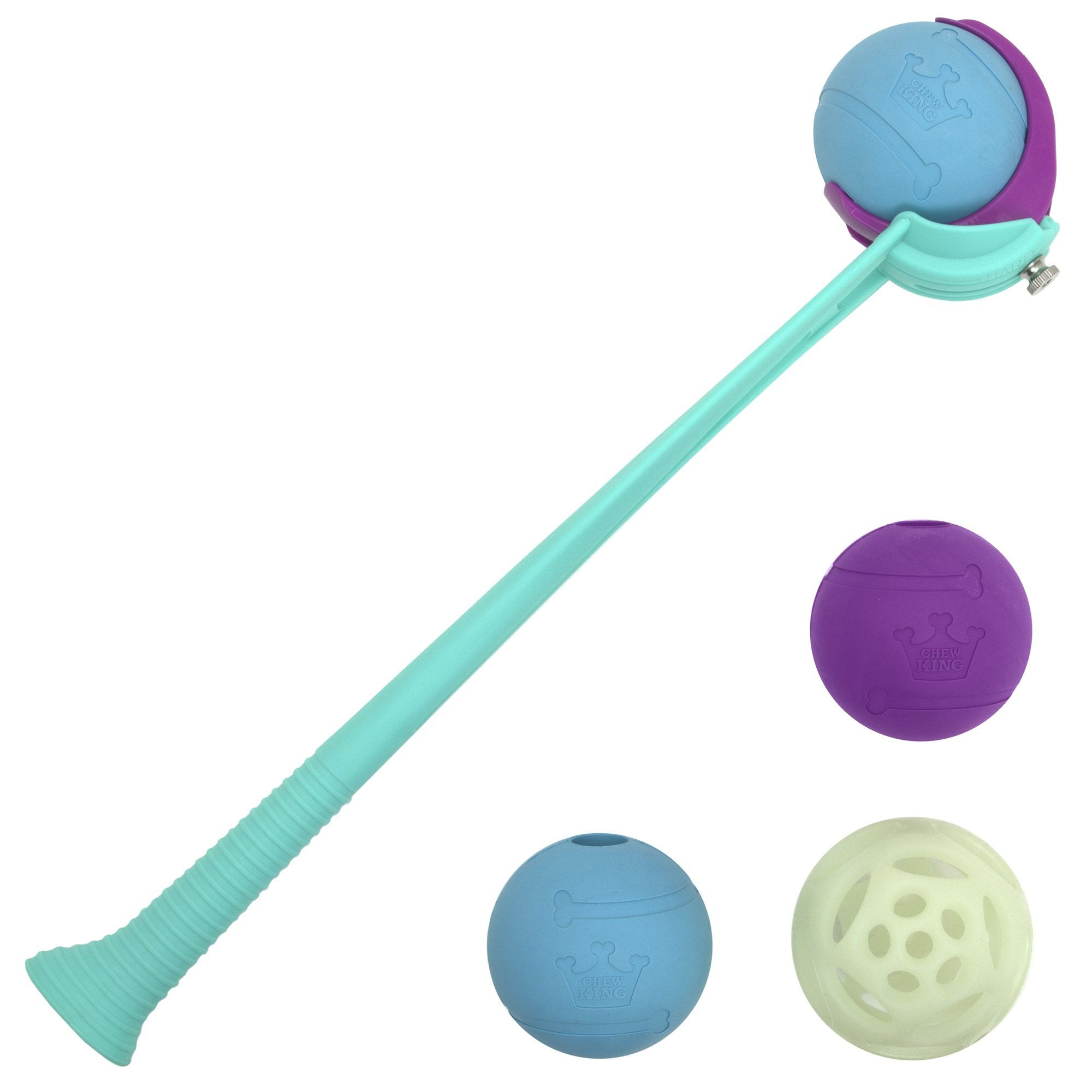 Chew King 4 Balls With Ball Launcher Combo Dog Toy Large With 3
