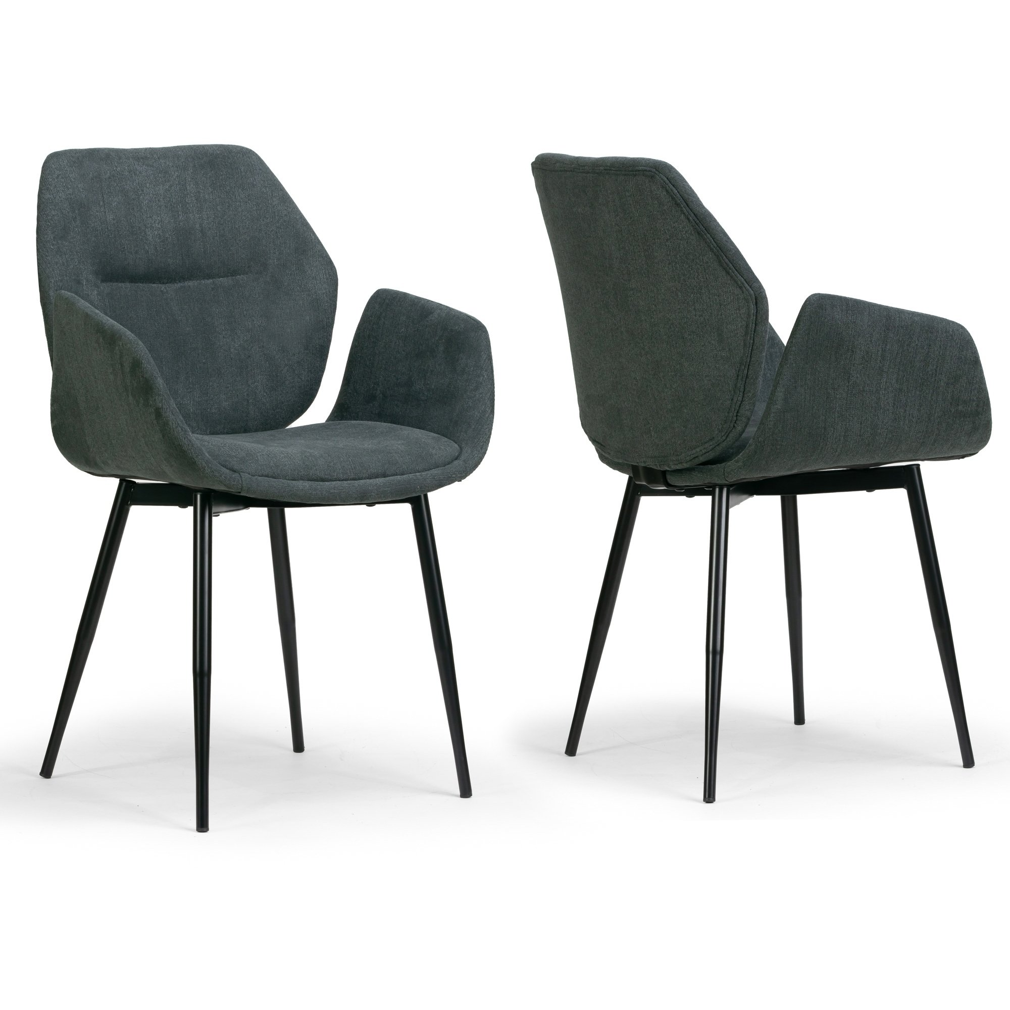 Amari Grey Velvety Fabric Dining Chair With Black Metal Legs Set Of 2 Glamour Dining Chairs Side Chairs Dining Fabric Dining Chairs