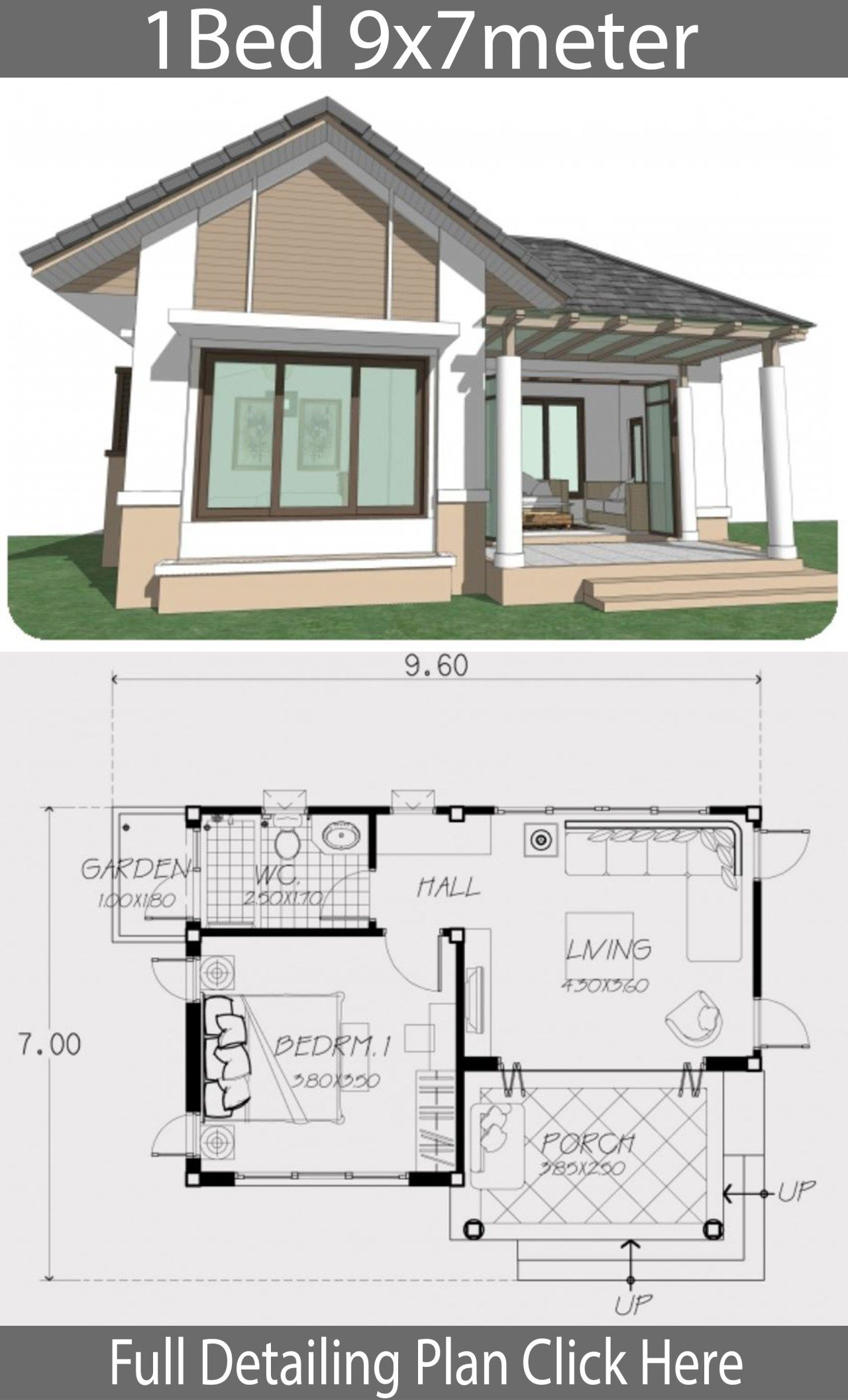 Home Design Plan 9x7m With One Bedroom Home Ideas Home Design Plan House With Porch House Design