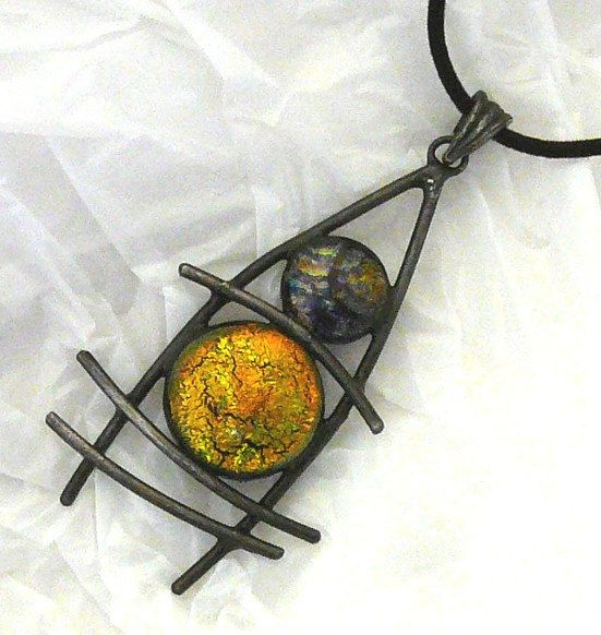 Dichroic Glass Wired Pendant
