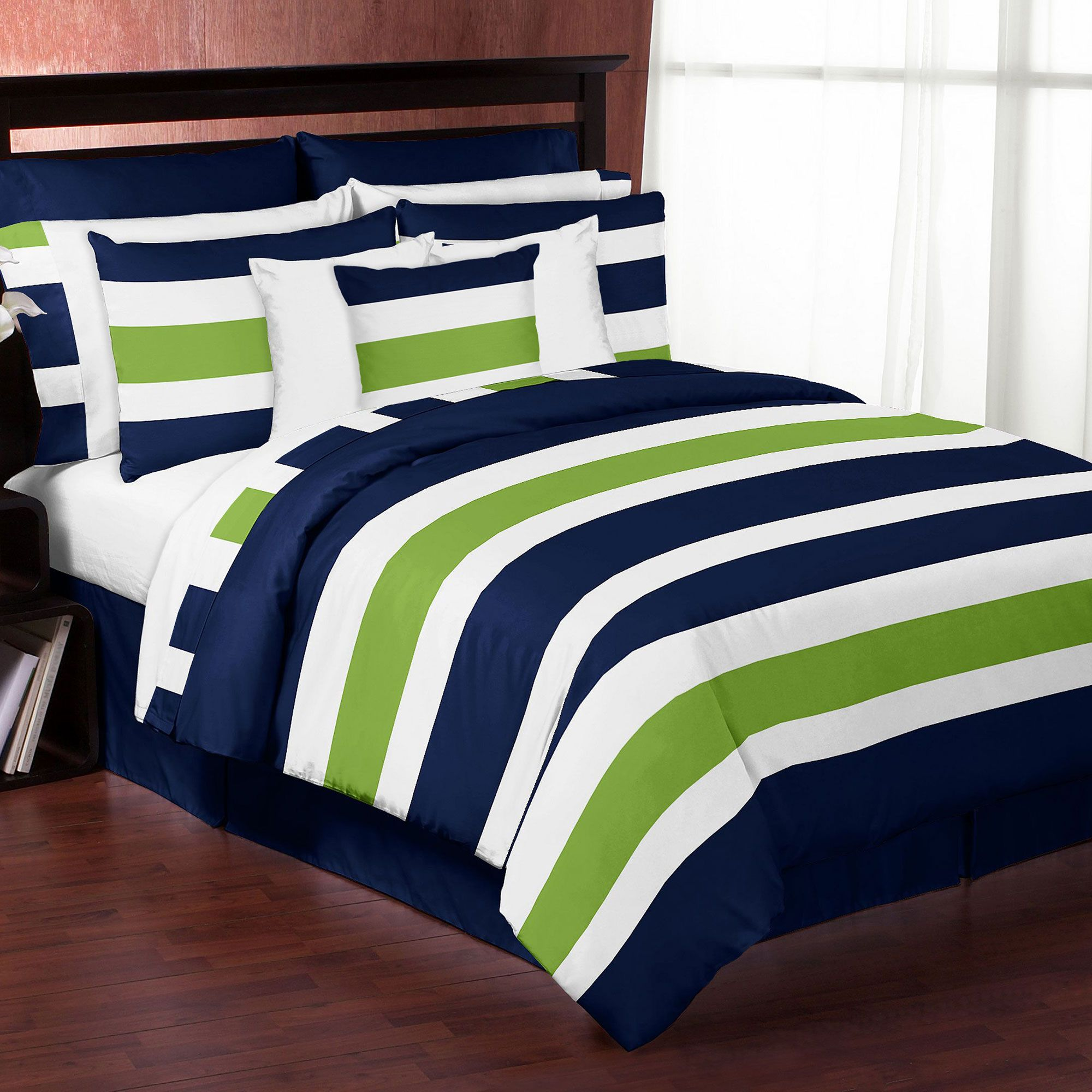 Stripe Navy Lime Bedding By Sweet Jojo Designs Love This Idea
