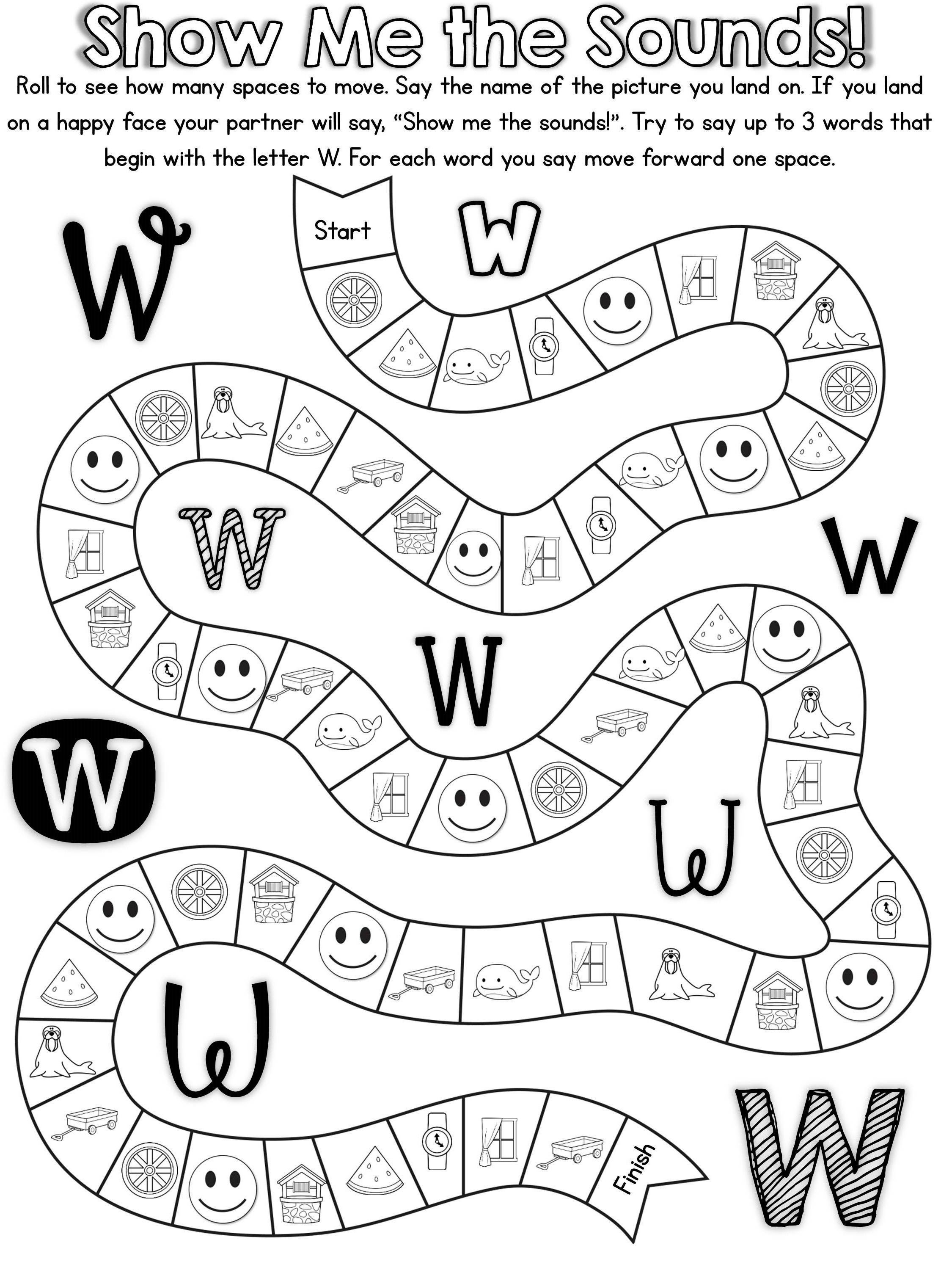 20 ready to print, no prep games to practice the letter W ...