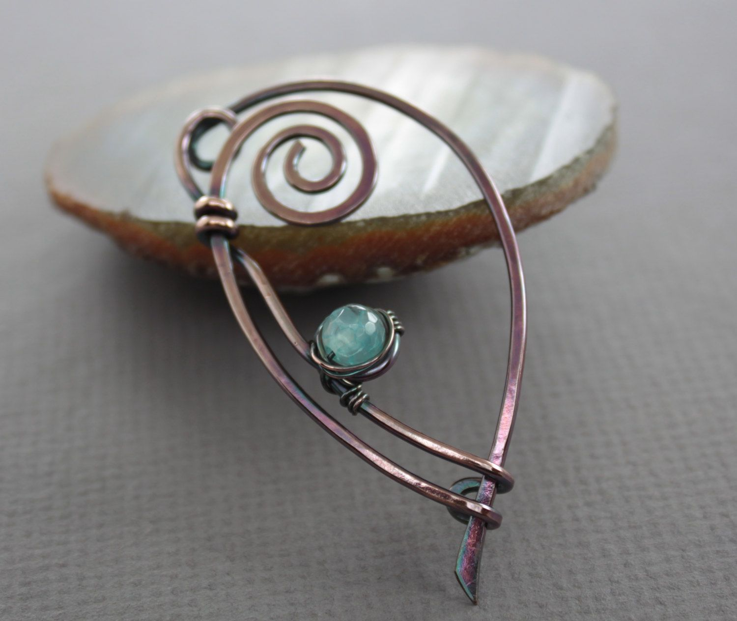 Really elegant shawl pin or scarf pin made with 14 gauge solid ...