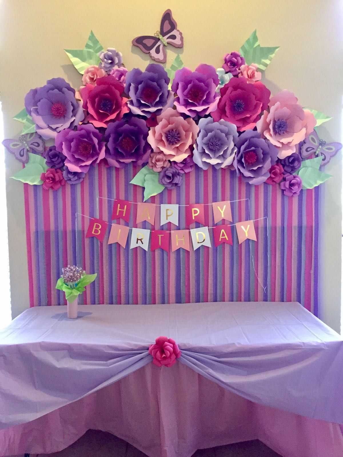 Paper Flowers Birthday Decoration