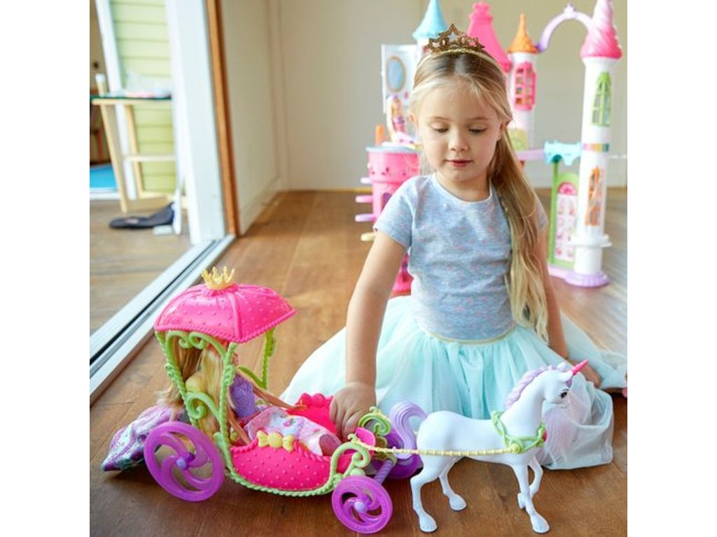 Barbie Dreamtopia Sweetville Carriage and Doll (With ...