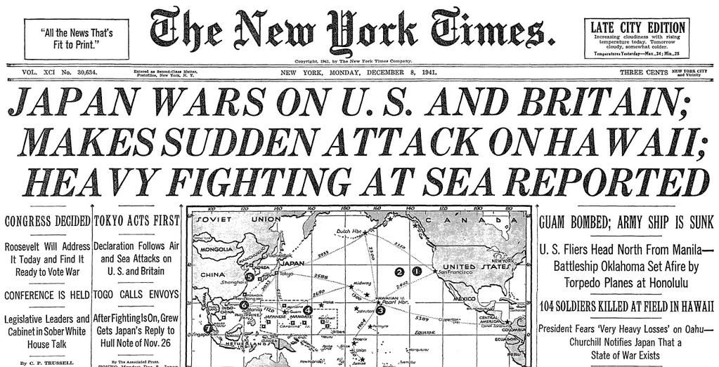 Japanese attack pearl harbor the new york times december 8 1941 japanese attack pearl harbor the new york times december 8 1941 reporting december fandeluxe Choice Image