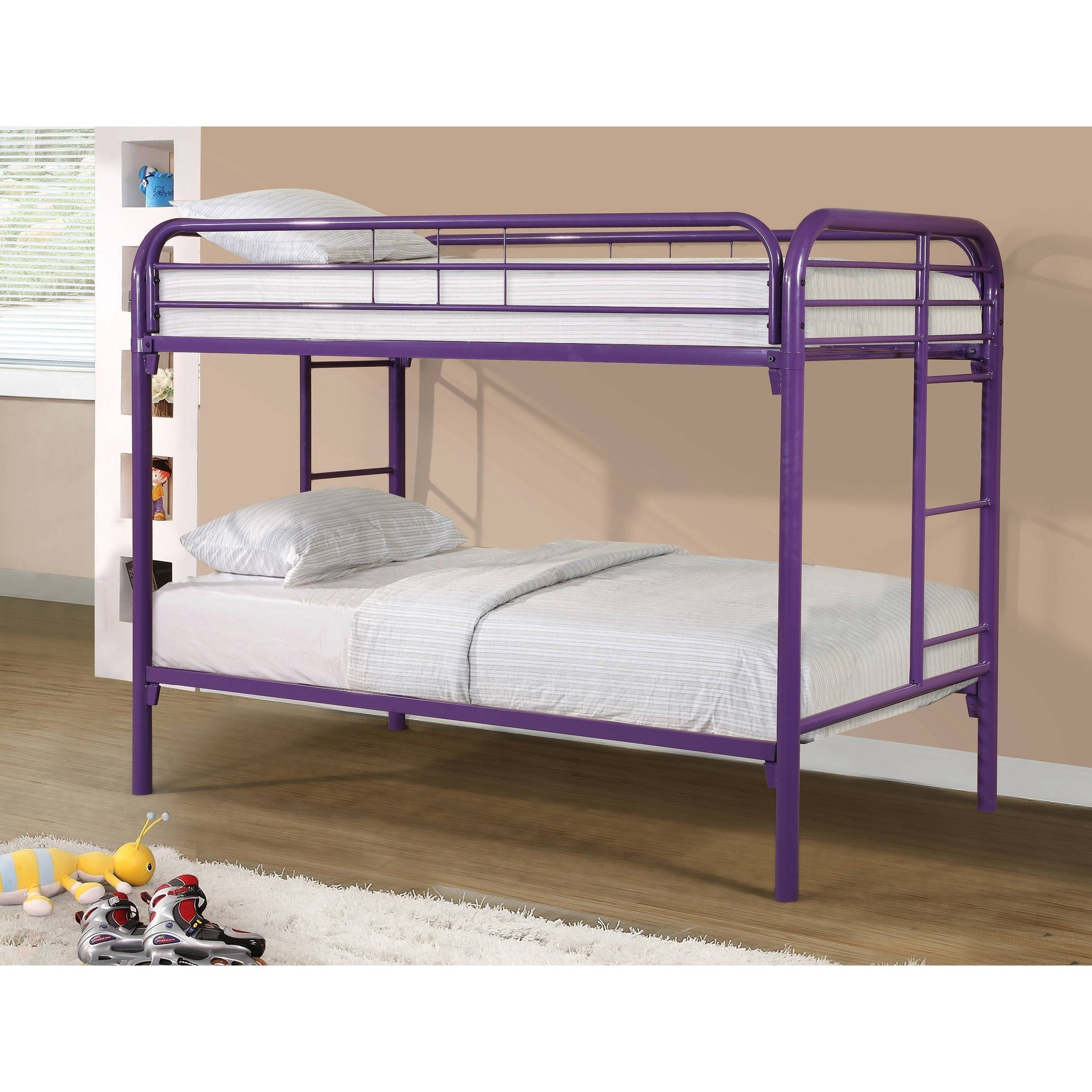 Best Donco Kids Twin Over Twin Metal Bunk Bed Purple 400 x 300