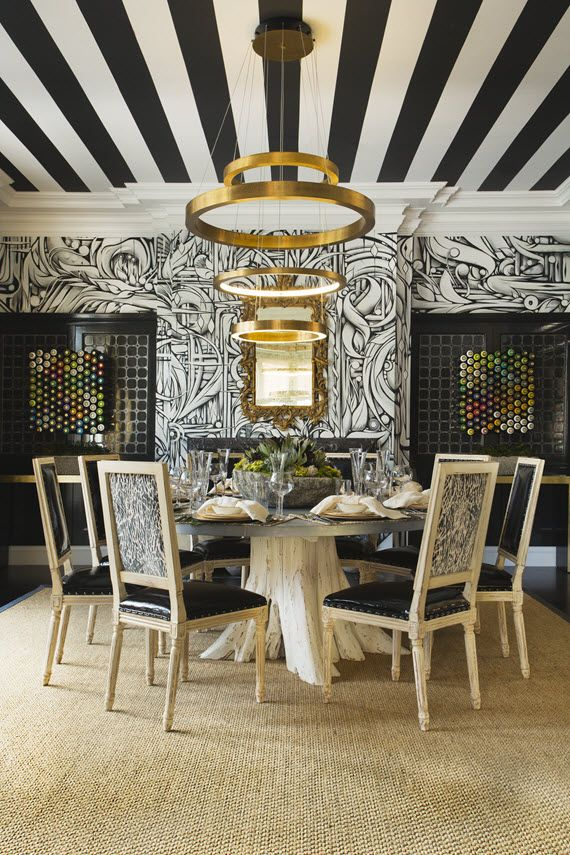 Black White Striped Dining Room Ceiling  Techo  Pinterest Endearing Black And White Dining Room Design Inspiration
