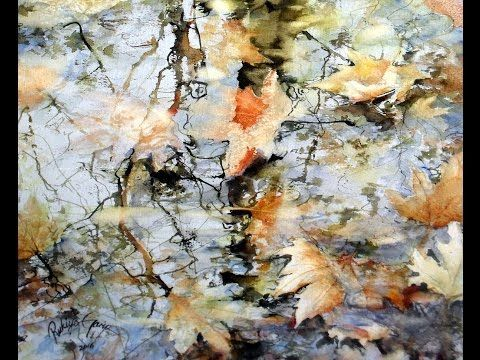 Leaves And Reflection With Autumn Colors Watercolor Painting By