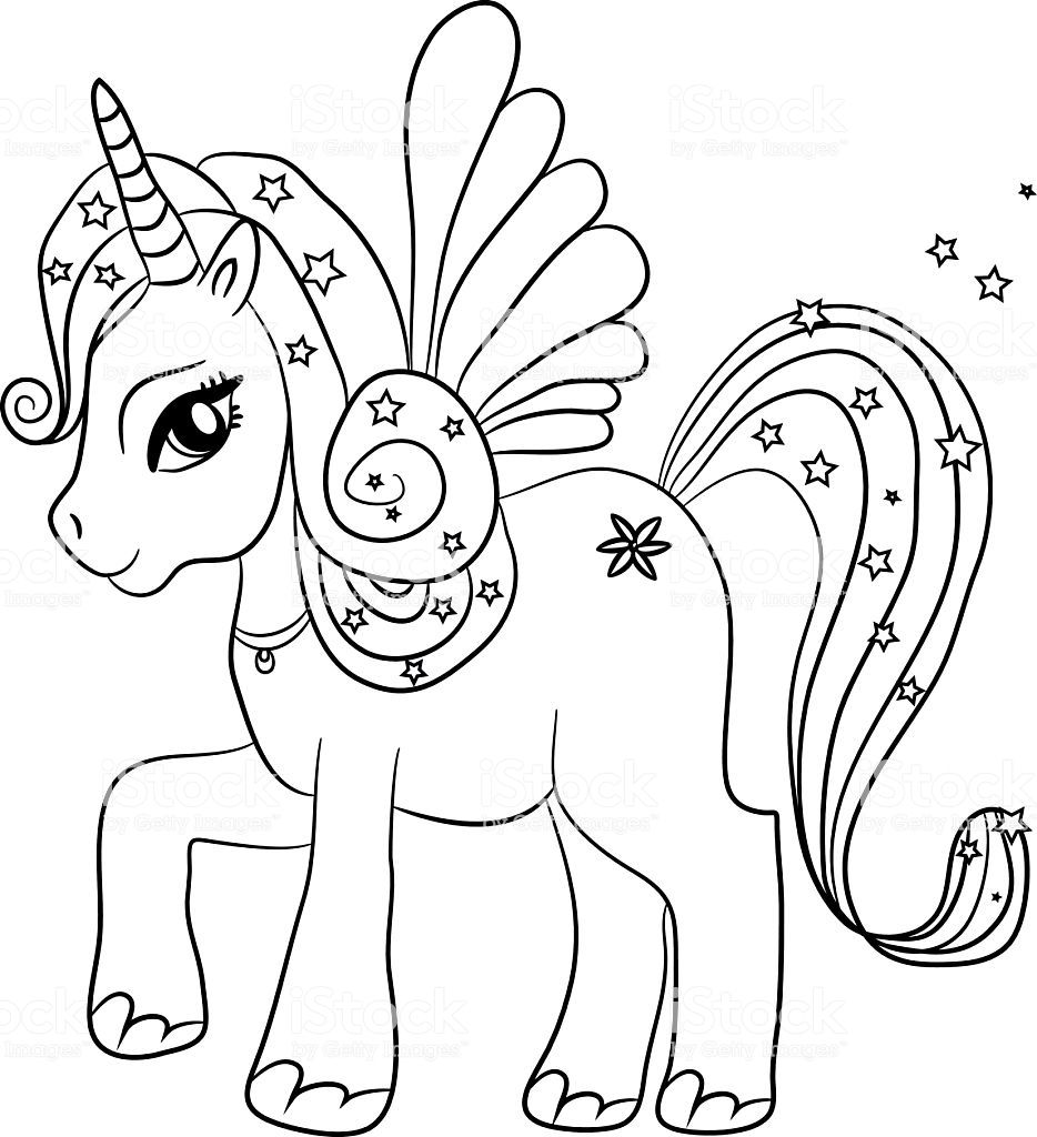 Unicorn Coloring Page For Kids Royalty Free Unicorn Coloring Page For Kids Stock Vector Art Unicorn Coloring Pages Animal Coloring Pages Fairy Coloring Pages