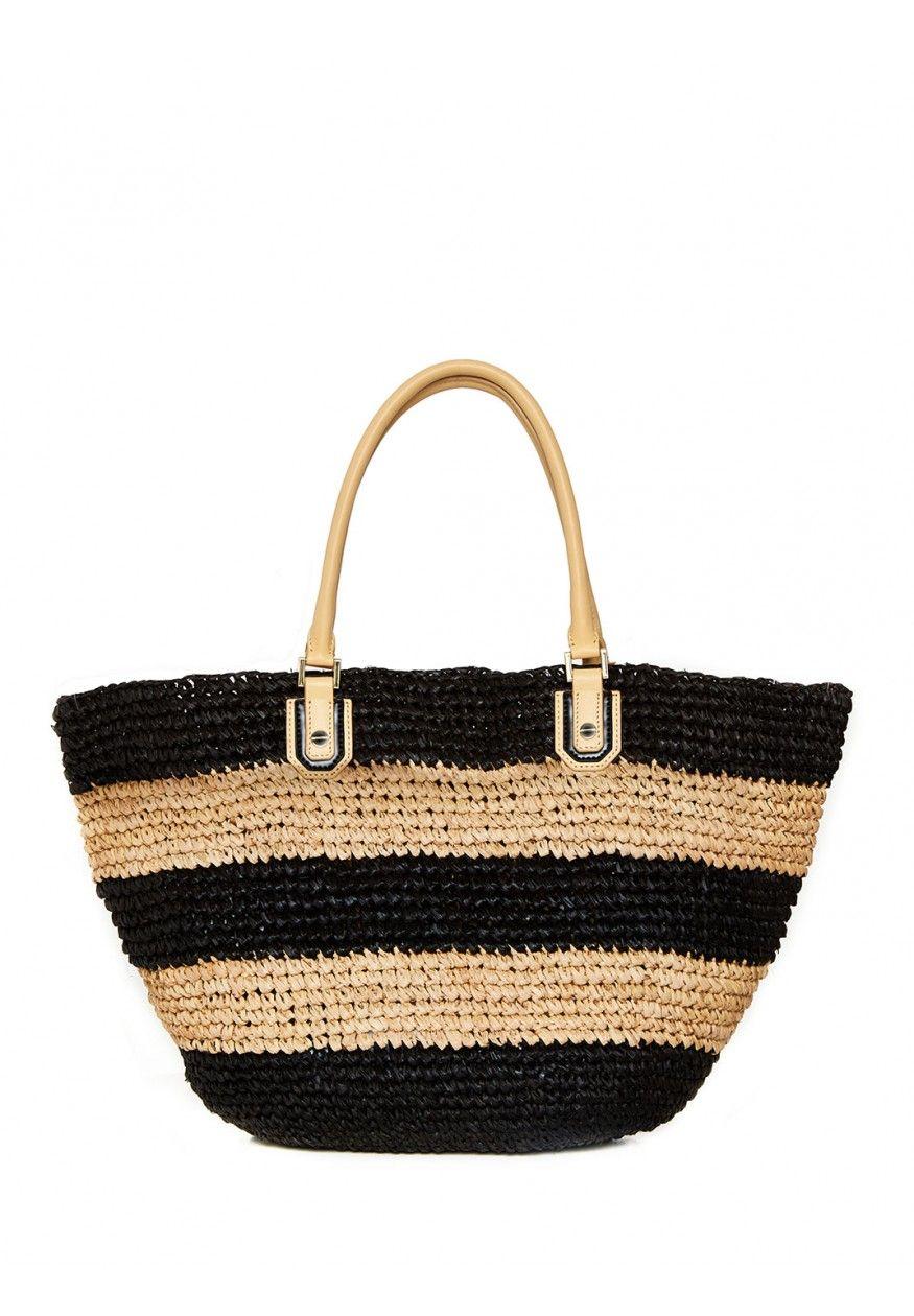 Olivia Woven Raffia Basket Bag In Black Natural By Alice