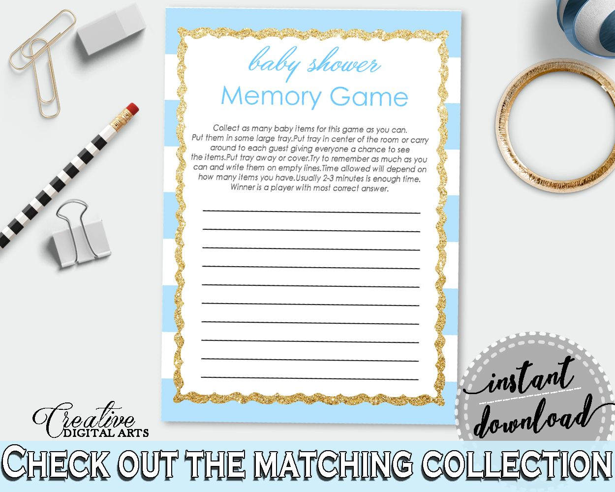 Shower Blue Theme Glam Baby Shower Win A Prize Remember MEMORY GAME, Party  Decorations, Instant Download, Shower Celebration   Bs002