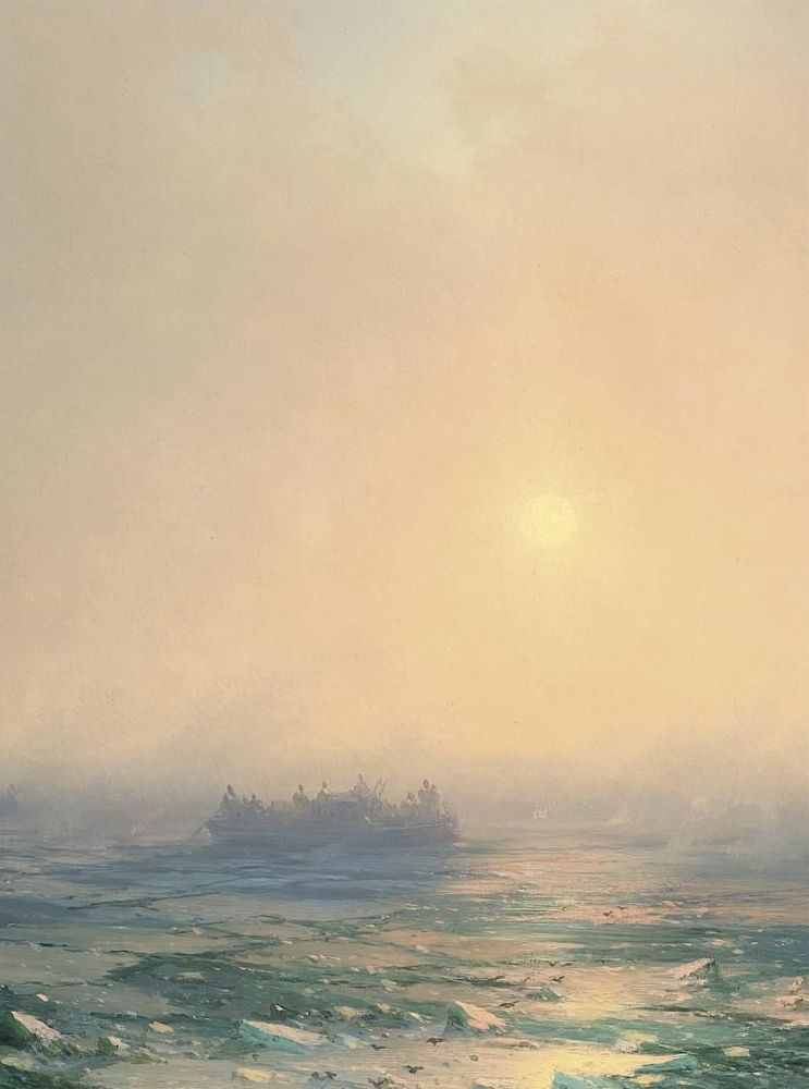 Ivan Konstantinovich Aivazovsky - Ice in the Dnepr (1872)