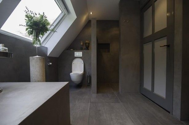 Badkamer Beton Cire : Badkamer met beton cire uitstraling bad bathroom bathroom