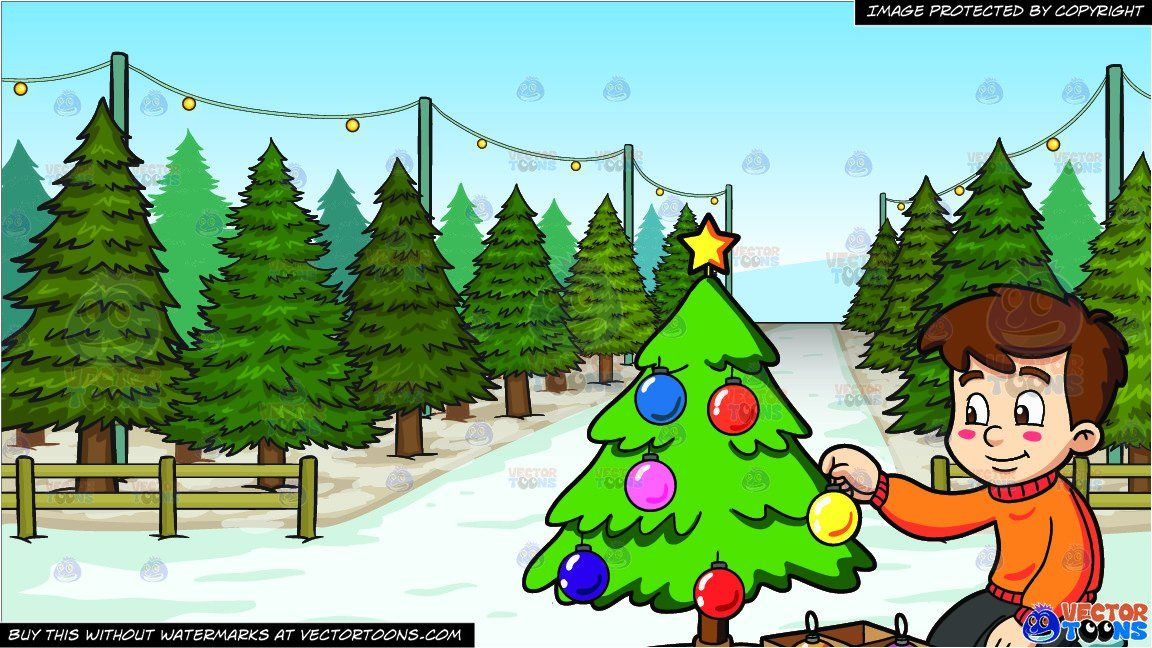 A Boy Decorating A Christmas Tree And Christmas Tree Lot Background Christmas Tree Lots Green Christmas Tree Christmas Tree
