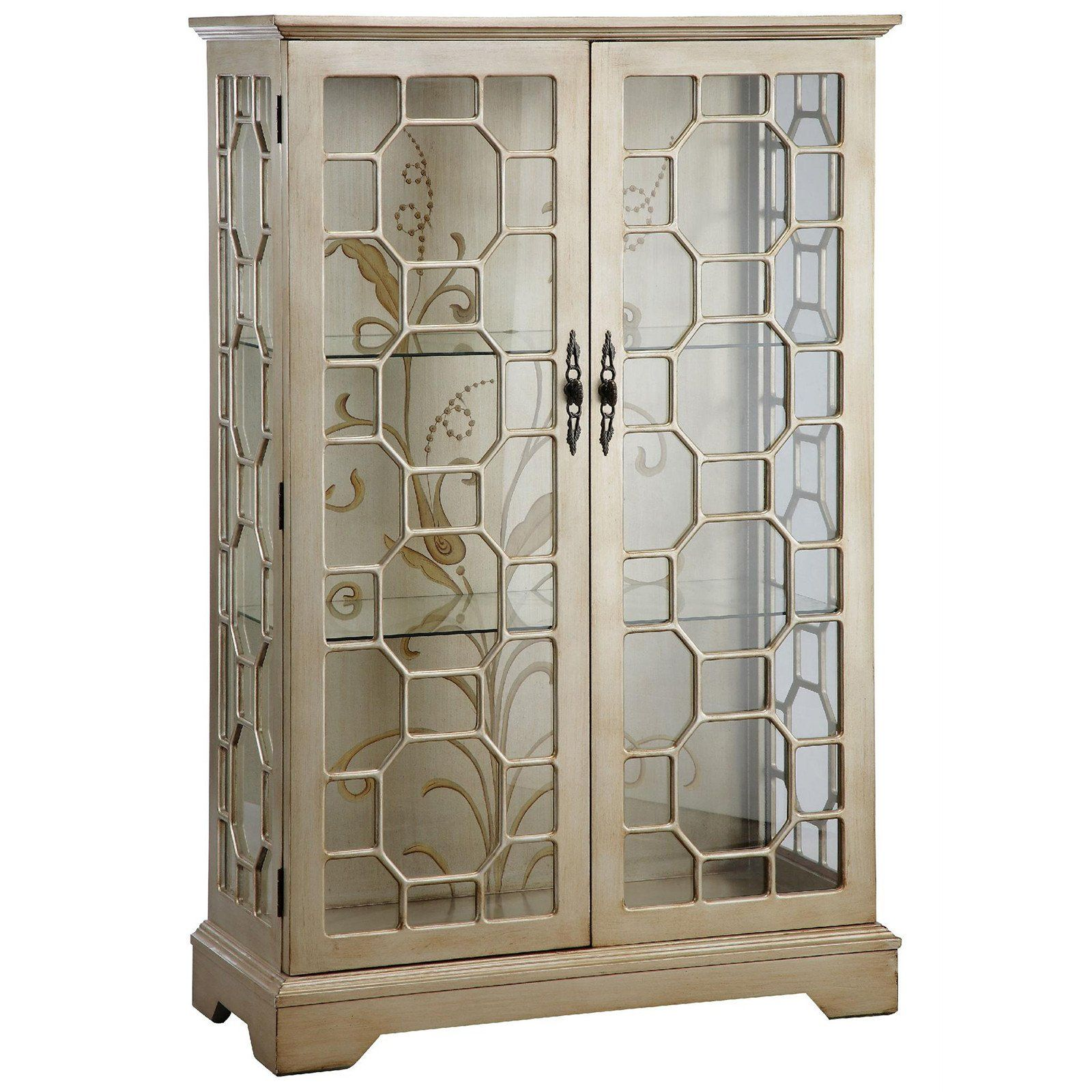 Diana 2 Door Display Cabinet In Silver And Gold Curio Cabinet Stein World Display Cabinet