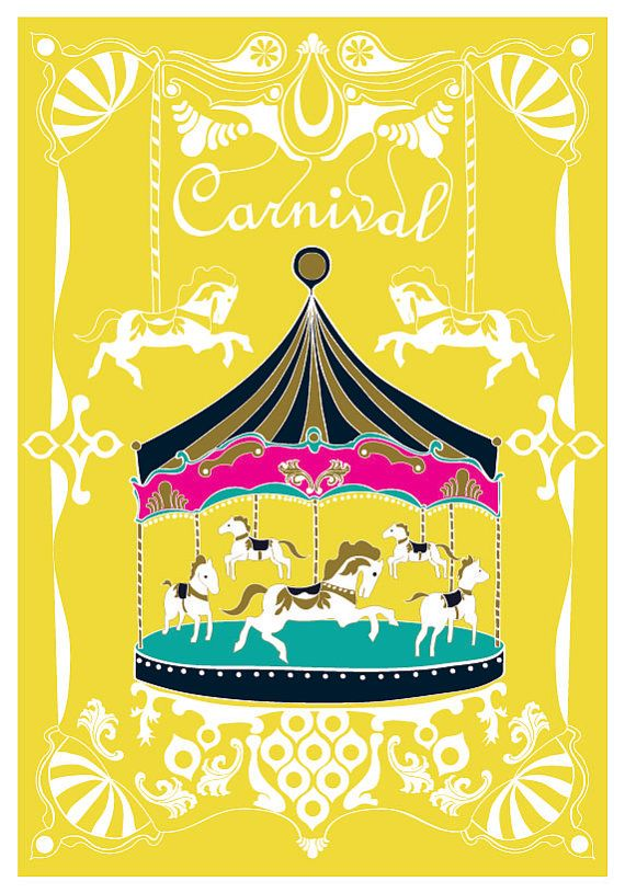 Large 13 X 19 / Poster / Merry - Go - Round Print / Yellow