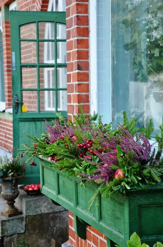 English Farmhouse Style Green Wooden Window Box Fall