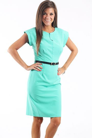 "Work Alert Dress, Mint $46.00 Talk about the perfect dress for work! We've got it right here! This dress is modest, professional, and comfortable. We love that the material has a slight stretch to it and that the belt is included!   Fits true to size. Miranda is wearing a small.   From shoulder to hem:  Small- 38.5""  Medium- 39""  Large- 39.5""  XLarge- 40"""