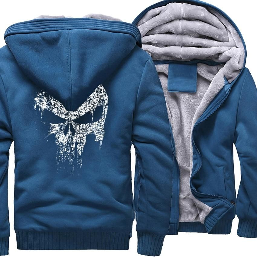New The Punisher Hoodie Zip up Jacket Coat Winter Warm Blue Camoflauge