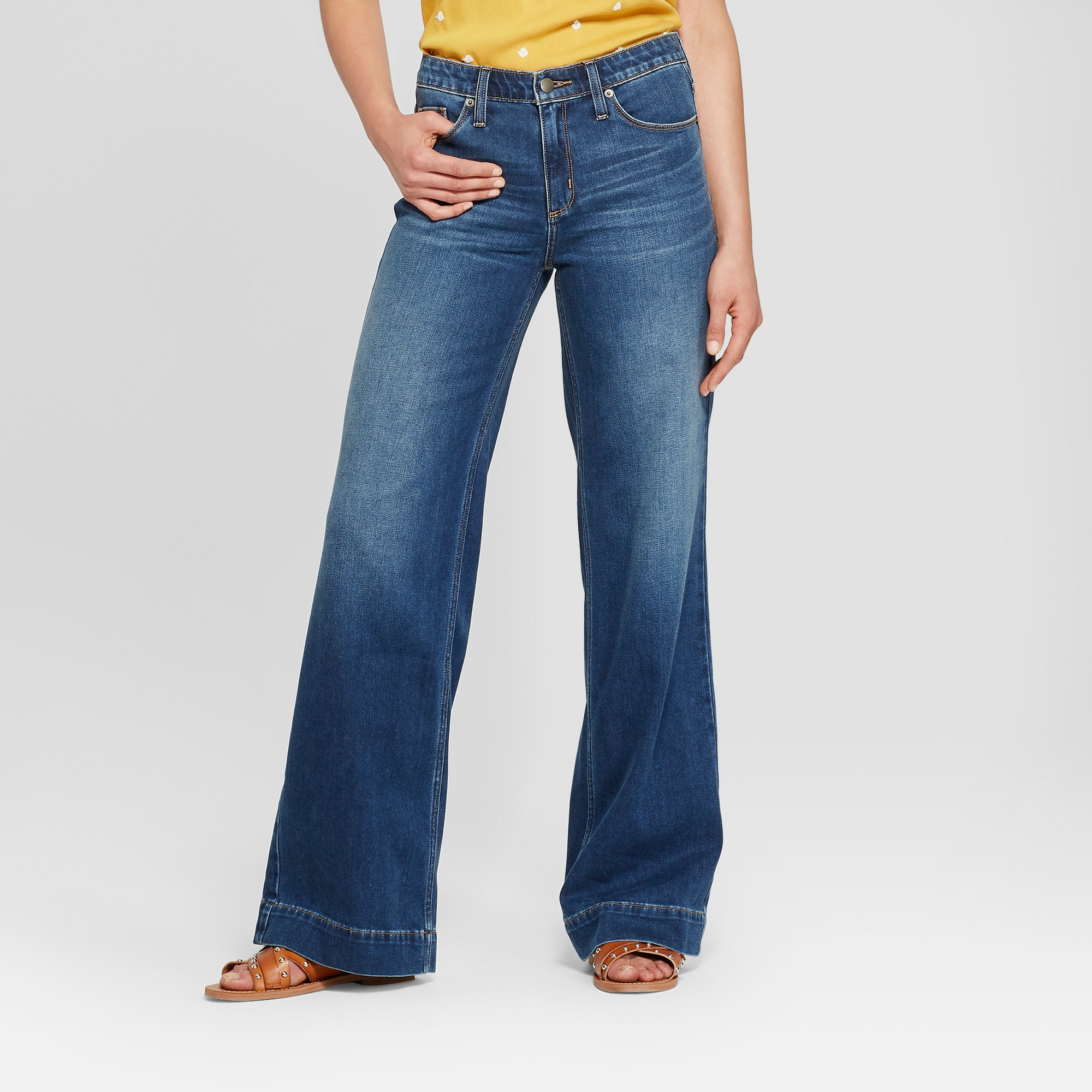 f75f66d0f7dac Women's High-Rise Wide Leg Jeans - Universal Thread Medium Wash 00 Short,  Blue