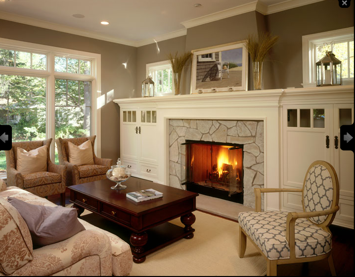 Soft Earth Tones In This Mission Craftsman Living Room Cozy Bungalow Style In 2020 Craftsman Living Rooms Fireplace Built Ins Living Room Remodel