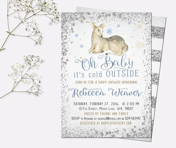Winter baby shower invitation, baby its cold outside baby shower, snowflake baby shower invitation, deer baby shower invitation, printable