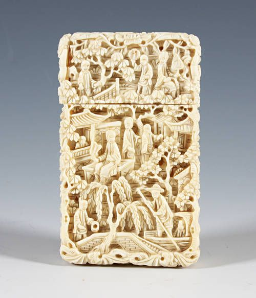 ce7b1b43927740 Chinese carved ivory card case Sold for £1