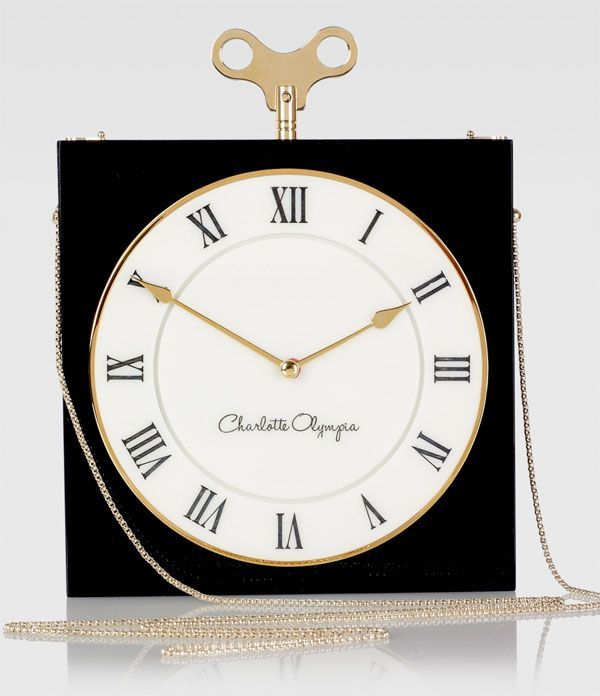 I'm Late, I'm Late for a very important date, No time to say hello, goodbye, I'm late, I'm late, I'm late.... Charlotte Olympia On Time Timepiece Box Clutch