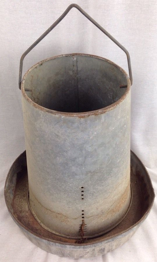 large vintage galvanized metal chicken feeder waterer 2
