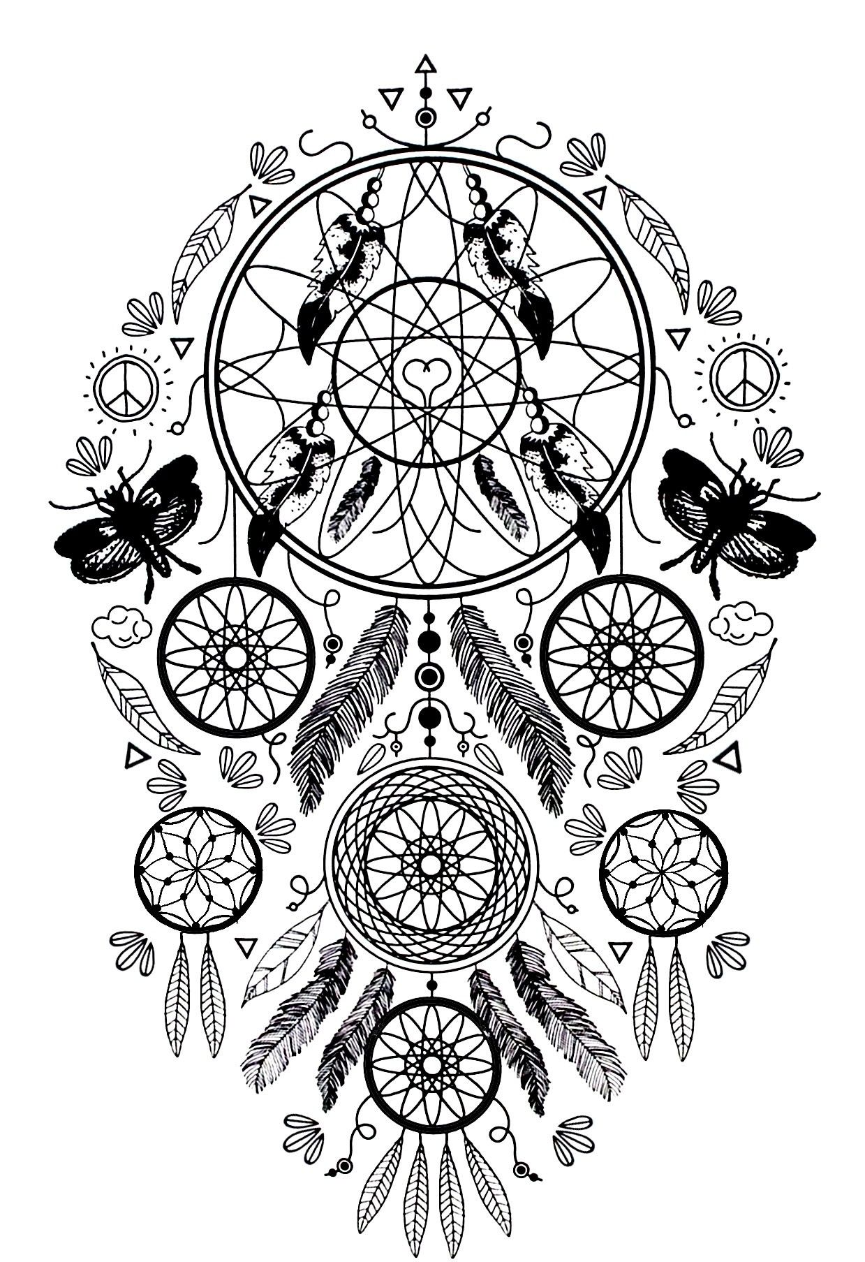 Free Dreamcatcher Coloring Pages, Download Free Clip Art, Free ... | 1807x1239