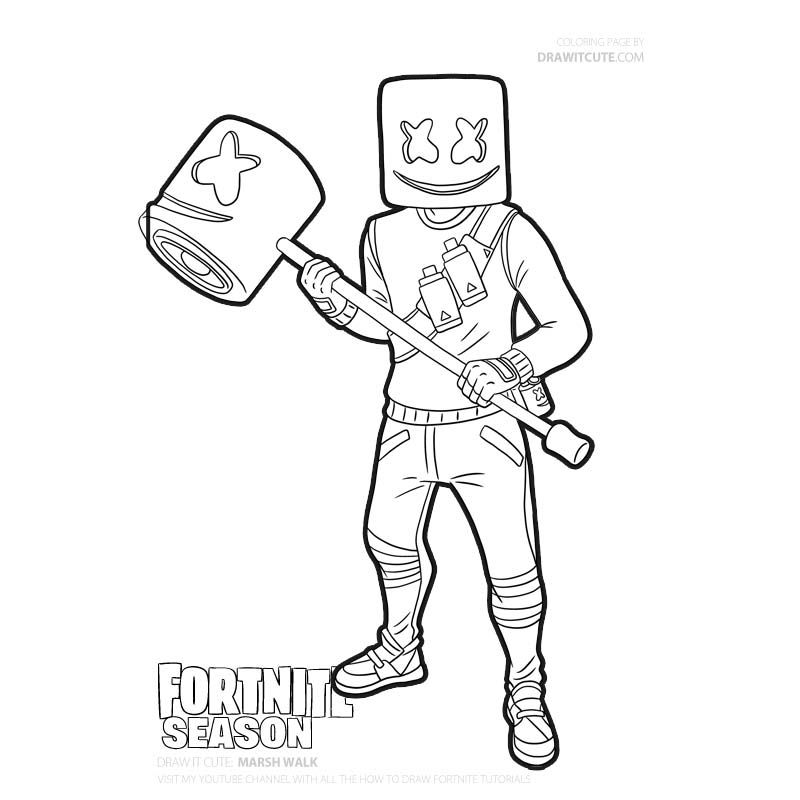 Fortnite Fortnite Marshmello Skin Marsh Walk Marshmello Skin Fortnite Marshmello Fortnite Battle Royale Fortn Coloring Pages Free Coloring Pages Coloring Books