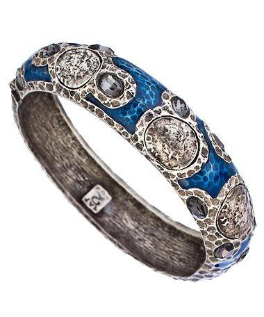 Tat2 Designs Vintage Silver Black Crystal and Lapis Enamel Bangle Bracelet