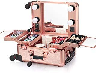 Ovonni Small Led Makeup Train Case Lighted Rolling Travel