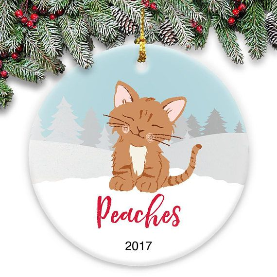 Ginger Kitten - Ceramic Ornament - Personalized with Name and Year #gingerkitten