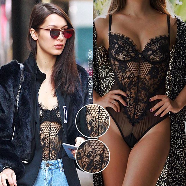 @BellaHadid was spotted leaving the Ralph Lauren office in Manhattan, NYC - February 14, 2017  W-O-W! She certainly turned heads by wearing this sexy @gooseberryintimates Honey Bee Bodysuit in color Black ($139). Go to #hadidscloset.com for a buying link and similar options. 🔥🔥🔥