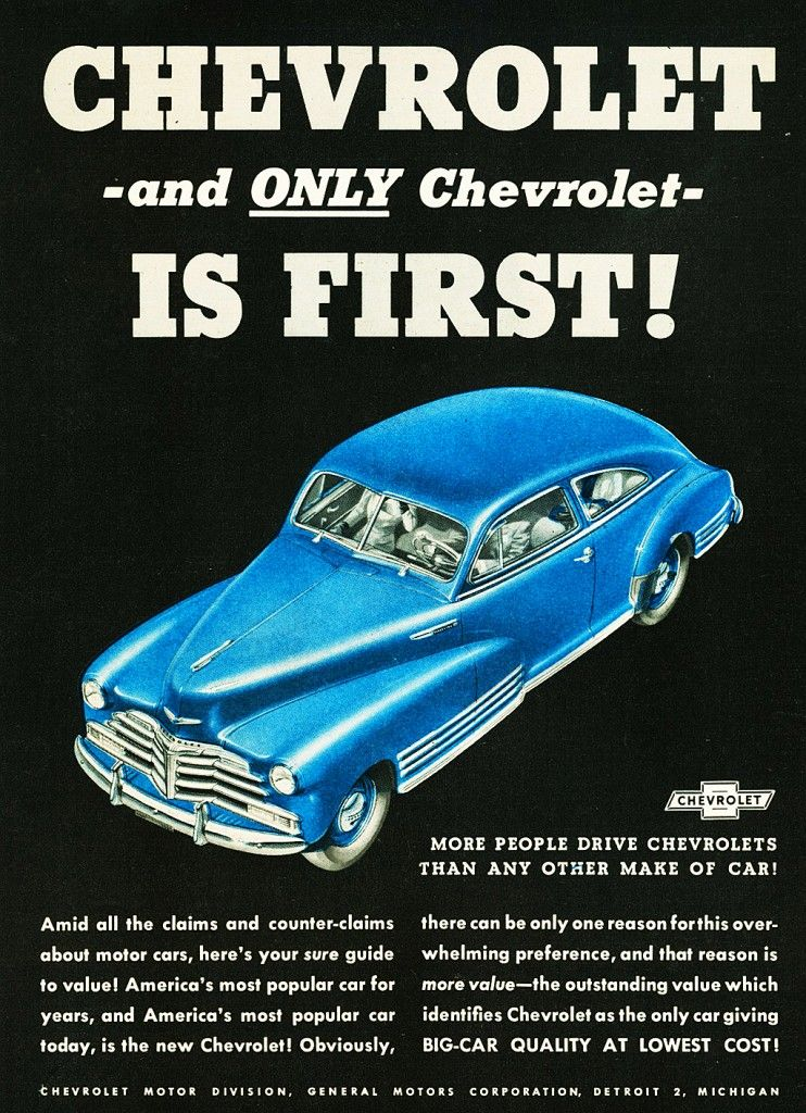 blue 1948 Chevrolet coupe ad | Classic Chevy Board - Happy ...