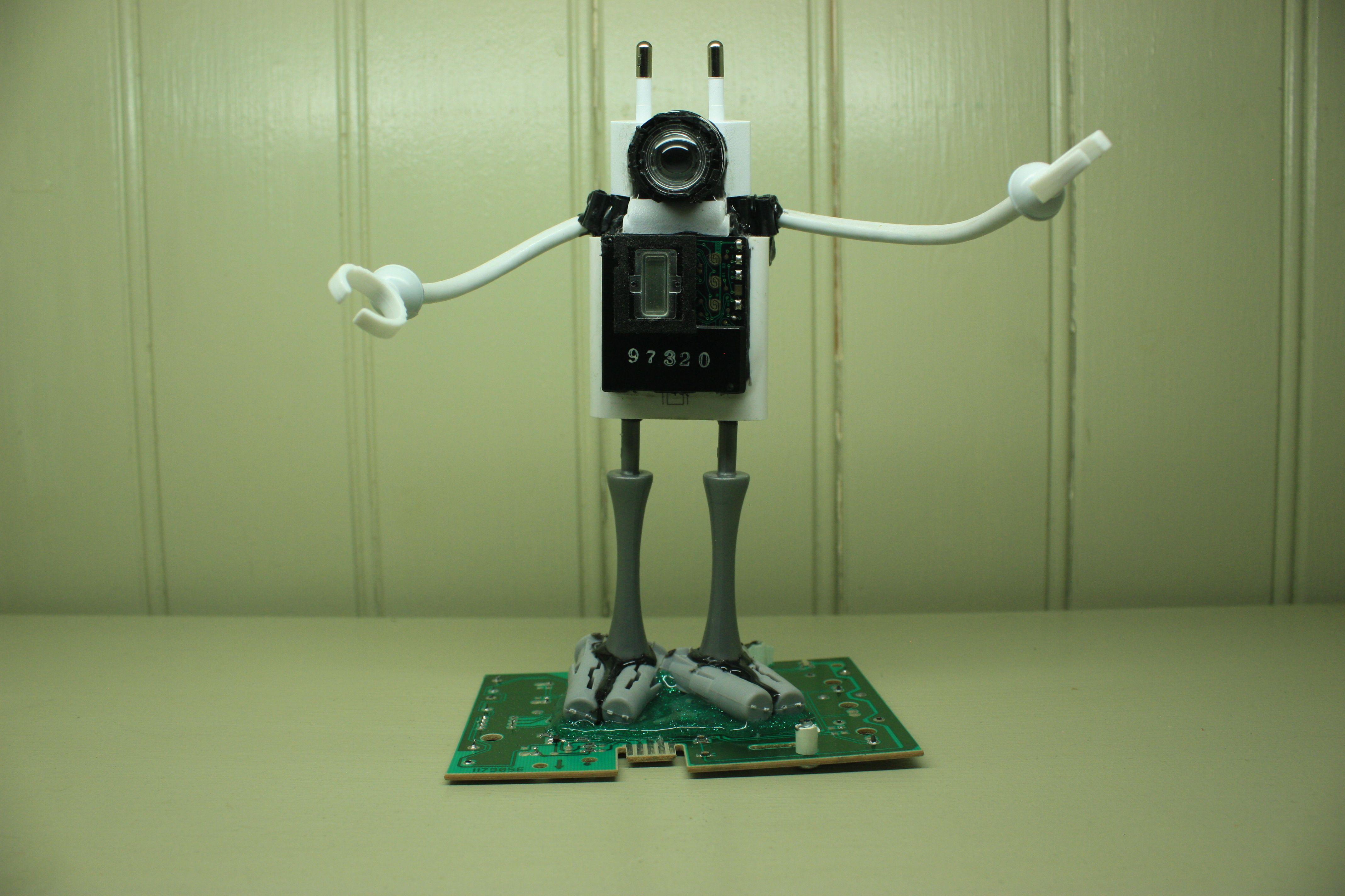 Computer parts robot sculptures by joebots robots