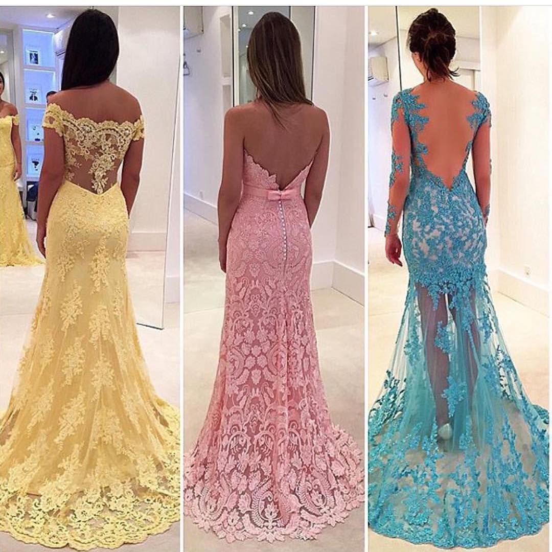 Which one? Yellow, pink or blue? Love lace ! Dresses by Isabela ...