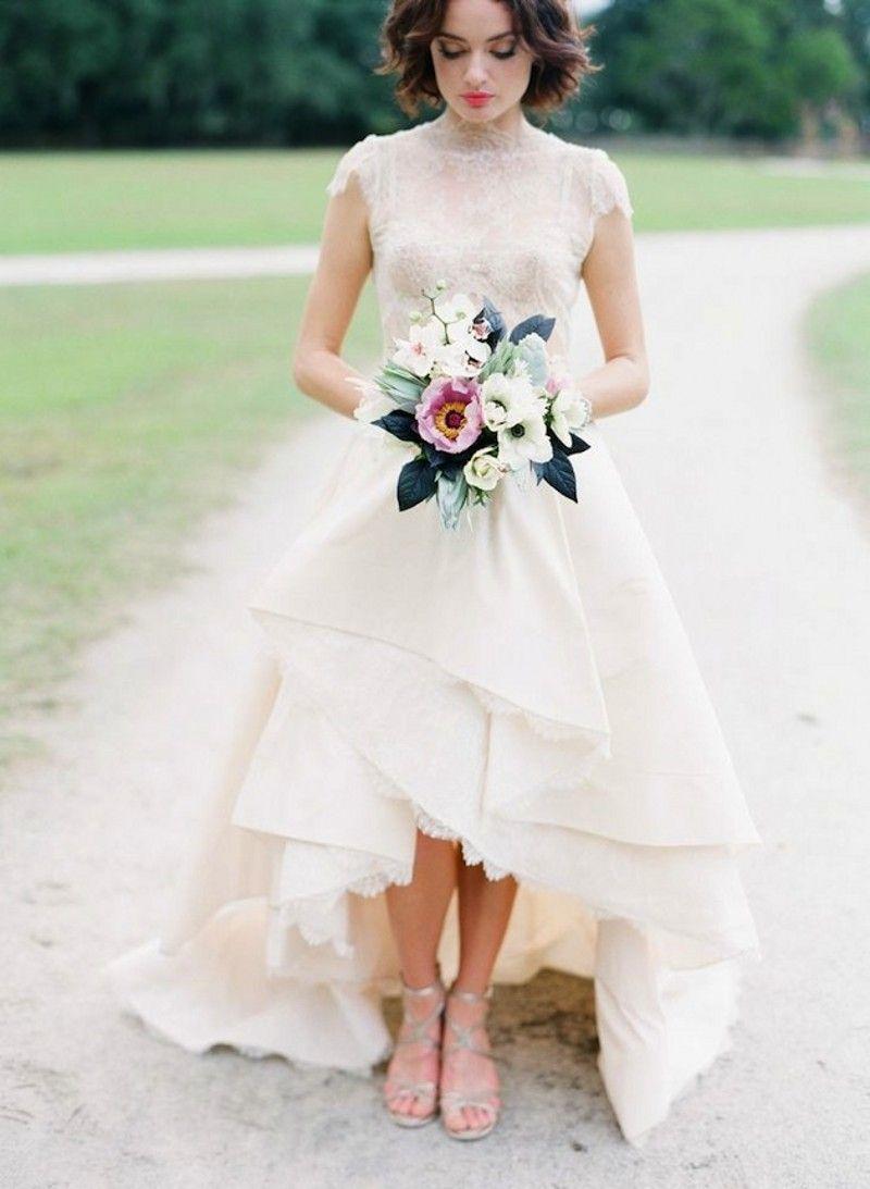 High neck cap sleeve lace wedding dress short front long back bridal