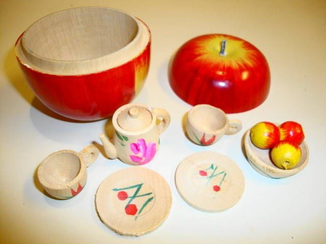 Image result for handmade wooden apple with tea set inside