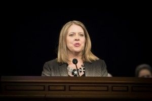 The senior VP of marketing for Wal-Mart stores in the United States challenged listeners to make a difference in the world by enduring to the end in the Jan. 28, 2014 forum address at BYU.