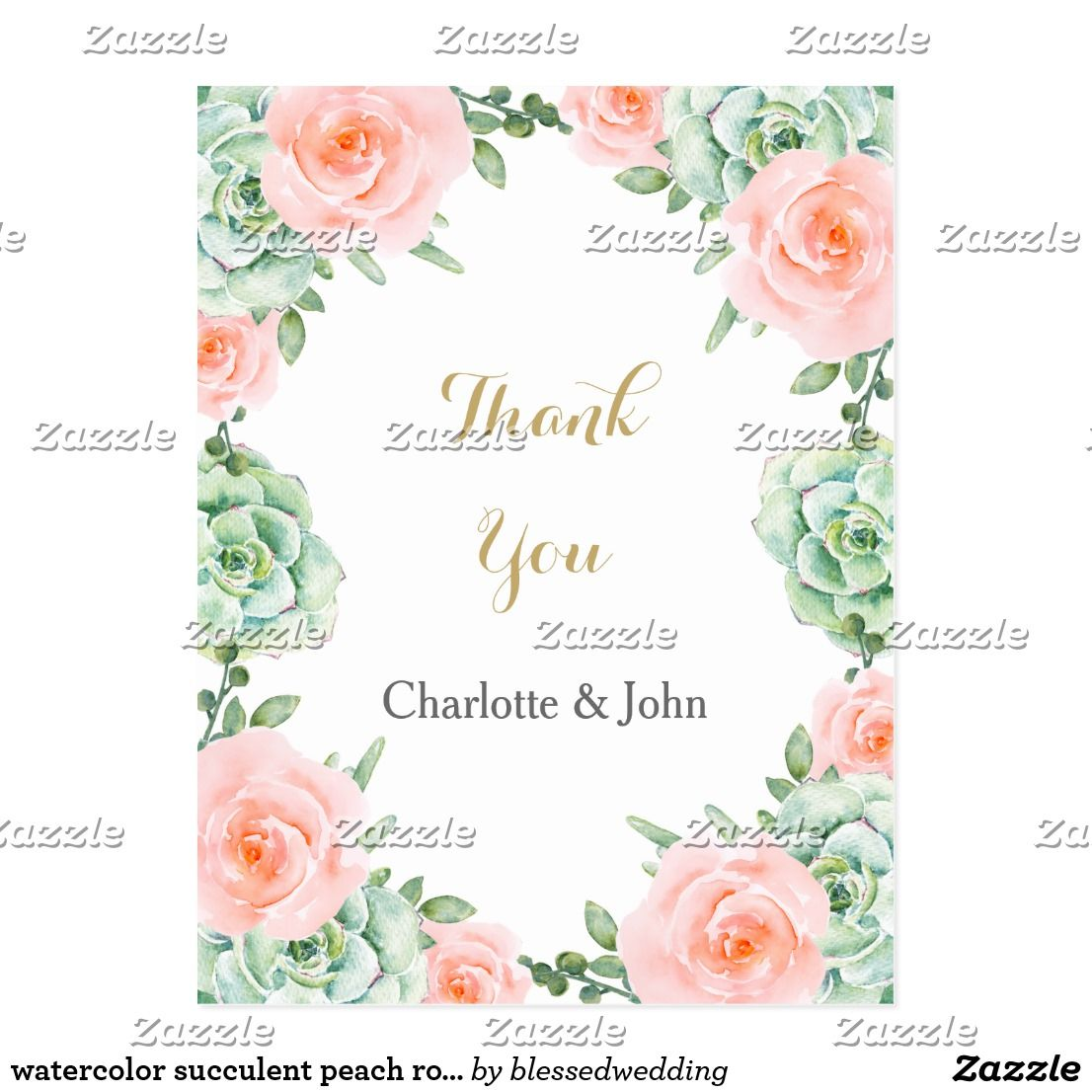 Watercolor succulent peach roses thank you notes postcard