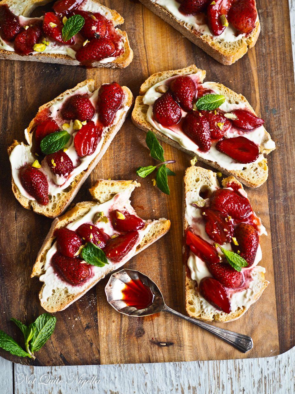 Brunchtime Roasted Strawberry Breakfast Bruschetta Recipe Strawberry Breakfast Roasted Strawberries Sweet Breakfast