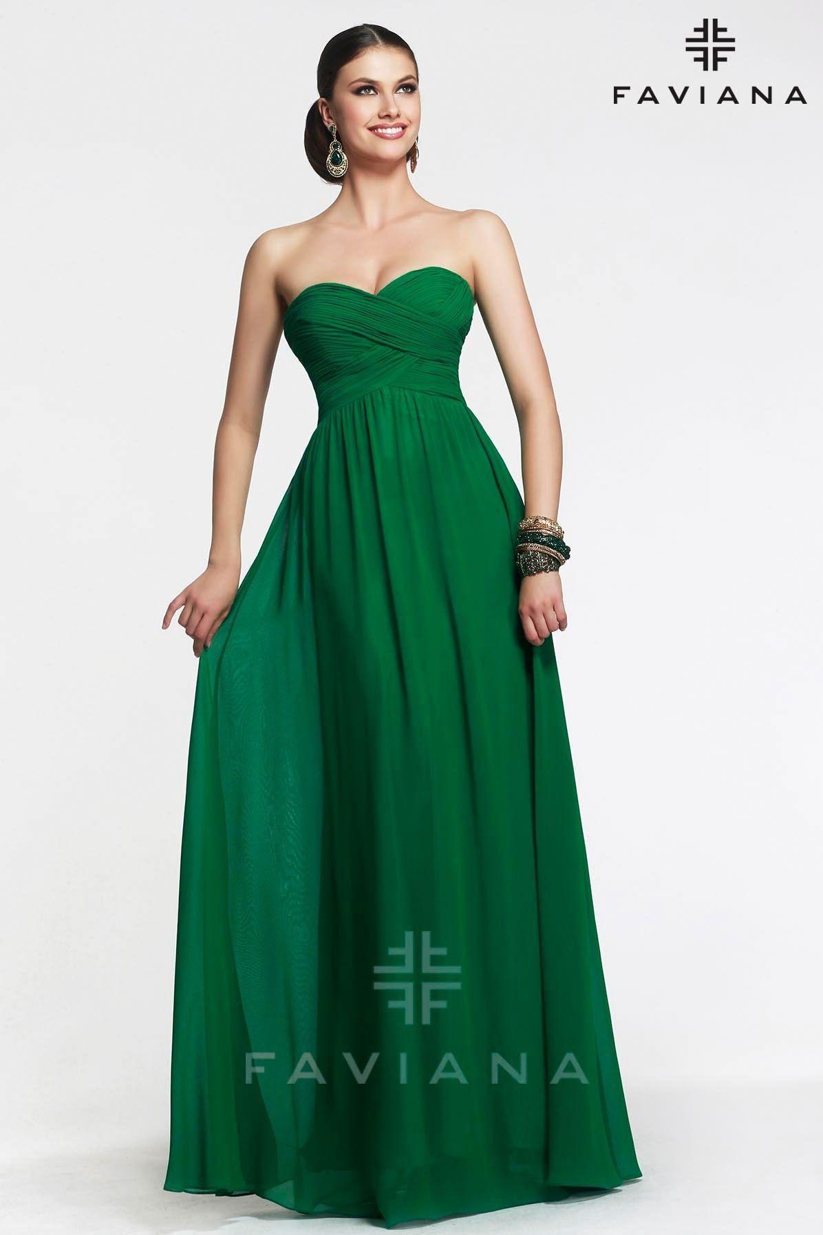 Emerald Green Strapless Evening Dresses