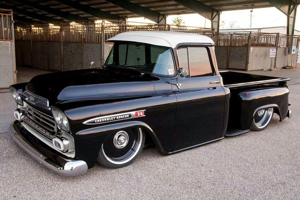 Black 1959 Chevrolet Apache Step Side Lowered Chevy Apache