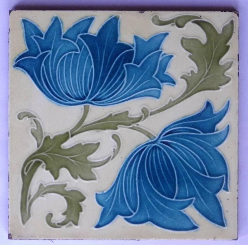 Superb Antique Art Nouveau Arts And Crafts Tile By Cleveland Co C1905