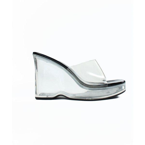 8fe4037da22 90s Vintage Clear See Through Platform High Heel Shoes size 6.5 US ...
