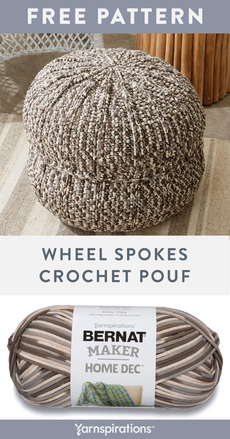 Free Crochet Pattern Using Bernat Maker Home Dec Yarn Free Wheel Spokes Crochet Pouf Pattern Make Yourself A St Crochet Pouf Crochet Pouf Pattern Bernat Yarn